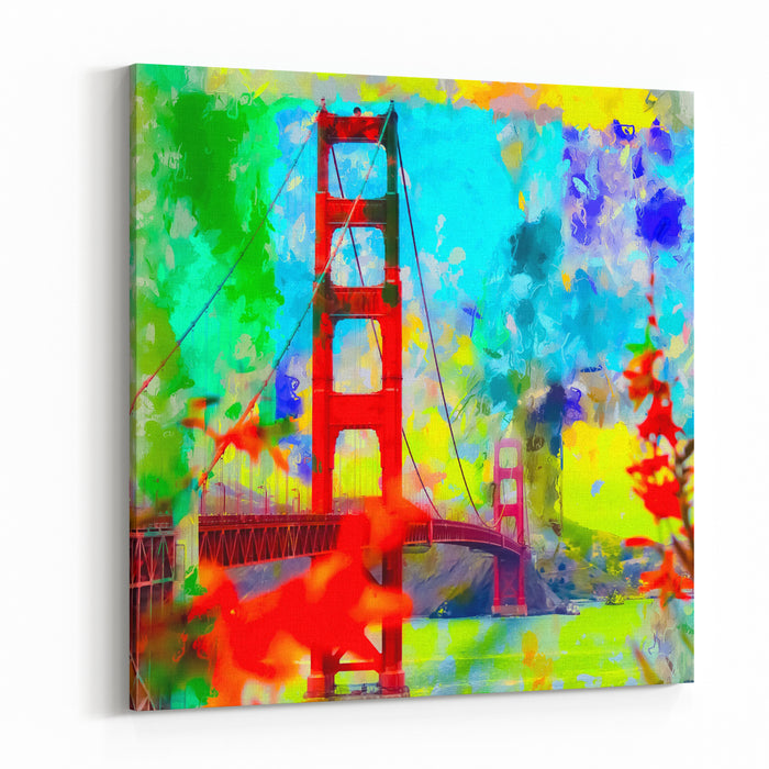 Golden Gate Bridge, San Francisco, USA With Blue Yellow Green Painting Abstract Background Canvas Wall Art Print