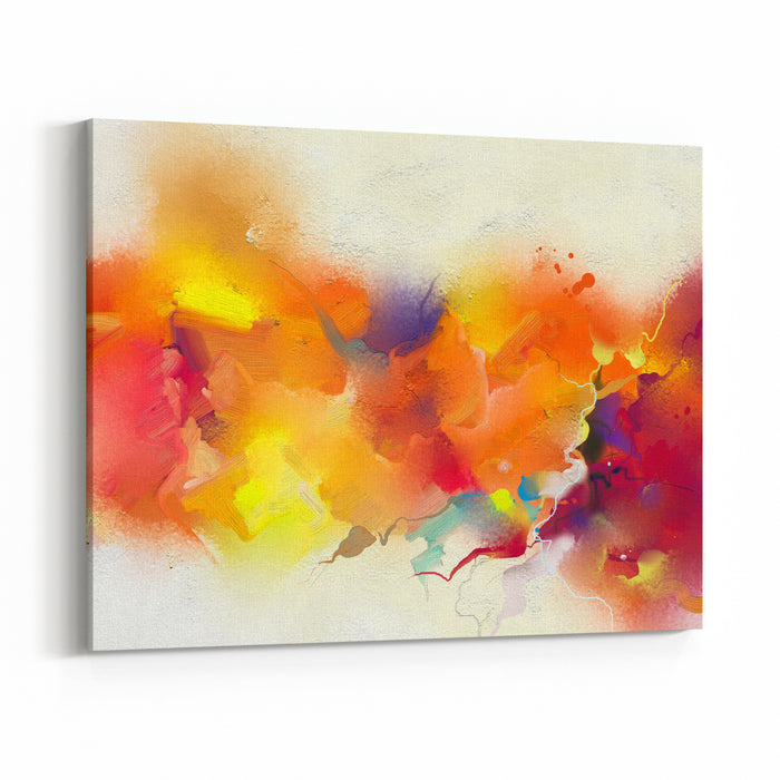 Abstract Colorful Oil Painting On Canvas Texture Hand Drawn Brush Stroke, Oil Color Paintings Background Modern Art Oil Paintings With Yellow, Red Color Abstract Contemporary Art For Background Canvas Wall Art Print