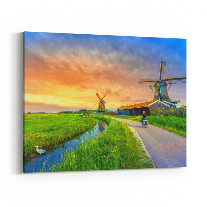 5a92dd309 Traditional Village With Dutch Windmills And River At Sunset, Holland,  Netherlands Canvas Wall Art