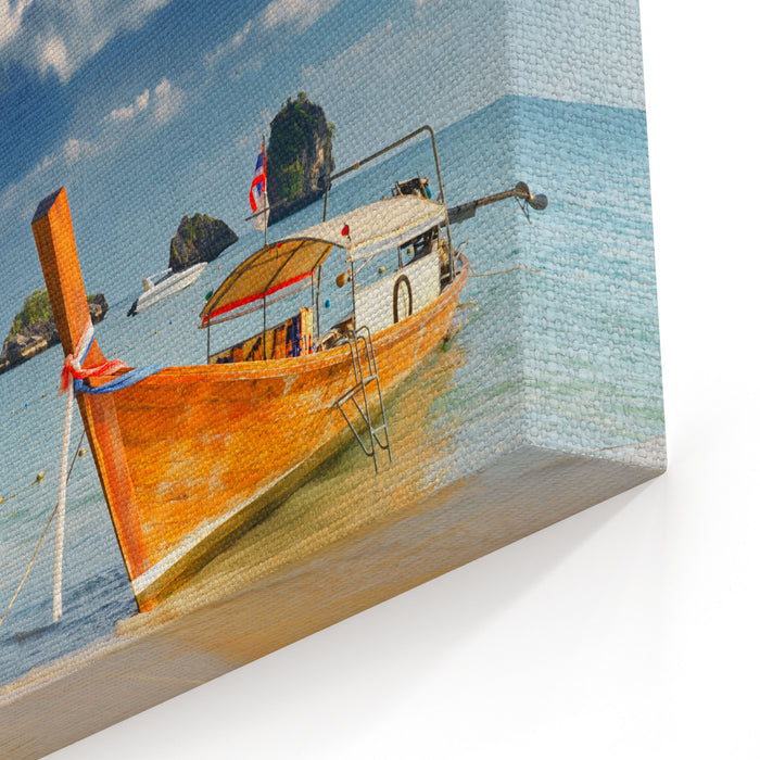 Thai Traditional Boats On Railay Beach, Krabi Canvas Wall Art Print