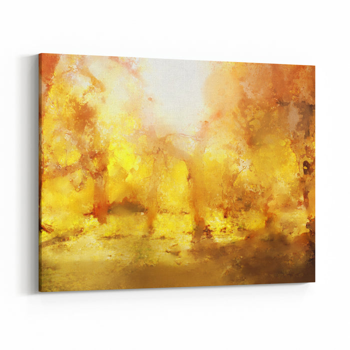 Abstract Painting Of Colorful Forest With Yellow Leaves In Autumn Canvas Wall Art Print