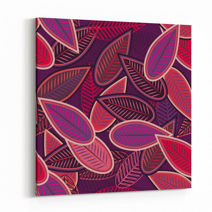 Abstract Vector Seamless Background With Lilac Leafs Canvas Wall Art Print