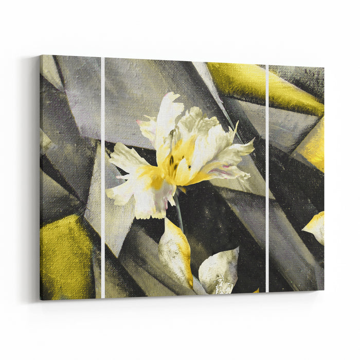 Hand Drawn Oil Painting  Stylized Triptych With Flower, Leaves Abstract Art Illustration On Canvas Texture In Interior Modern, Contemporary Art Yellow Canvas Wall Art Print