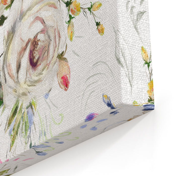 Seamless Pattern With White Flowers And Leaves Floral Background Oil Painting Floral Pattern, Flower Rose On Canvas Tile For Wallpaper Or Fabric Canvas Wall Art Print