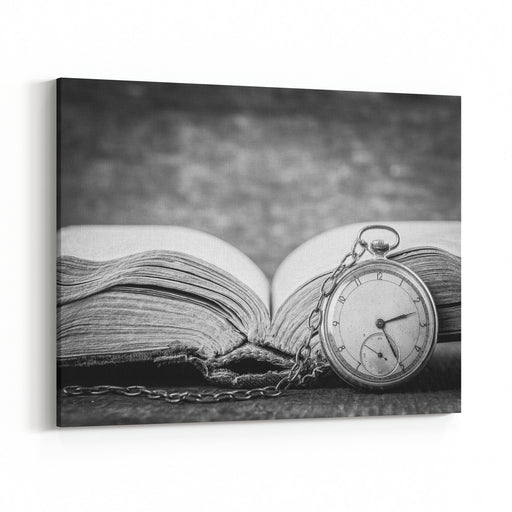 Decaying Clock On The Background Of Old Shabby Wise Book Black And White Photography Canvas Wall Art Print