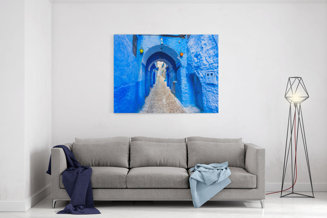 Rosenberry Rooms & Chefchaouen Blue Town Street In Morocco With Beautiful Arches And BrightBlue Walls And Soft Focus Canvas Wall Art Print