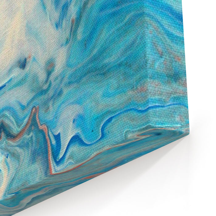 Blue Marble Texture Design, Abstract Painting, Fashion Art Print Blue Waves And Splashes Canvas Wall Art Print