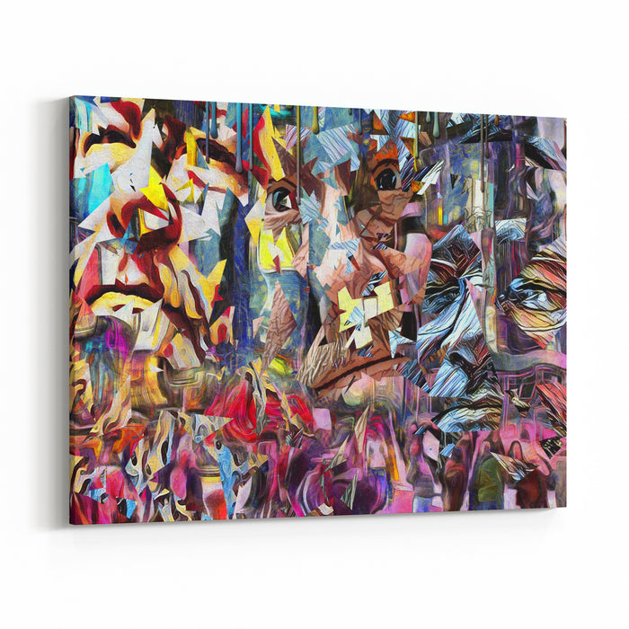 Complex Abstract Painting Colorful Mosaic Elements And Pieces Of Mens Faces D Rendering Canvas Wall Art Print