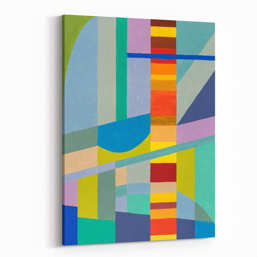 An Abstract Painting With A Column Of Warm Colours Canvas Wall Art Print