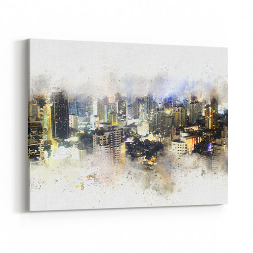 Abstract Building In The City At Night On Watercolor Painting Background City On Digital Illustration Brush To Art Canvas Wall Art Print