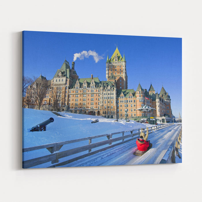 Quebec City In Winter Traditional Slide Decent Canvas Wall Art Print