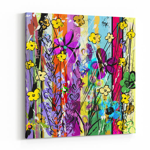 Abstract Background Composition With Flowers, Paint Strokes, Splashes And Geometric Lines Canvas Wall Art Print