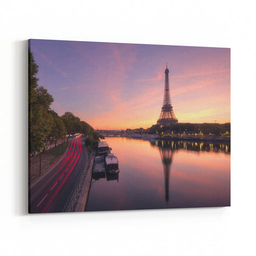 Eiffel Tower And The Seine River At Sunrise, Paris, France Canvas Wall Art Print