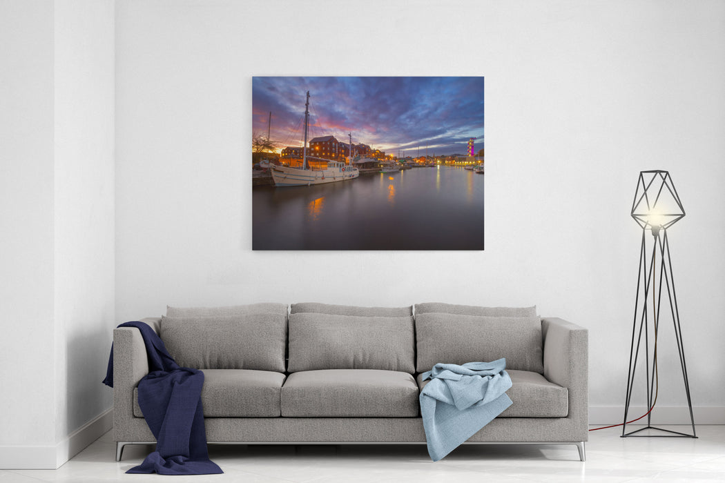 A White Masted Vessel Is Moored In A Harbor In The City Of Exeter Other Vessels Are Also Visible Colorful Sunset Exeter Devon England Canvas Wall Art Print