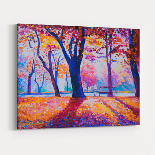 Original Oil Painting On Canvas Fall Colors At Park  Modern Art Canvas Wall Art Print