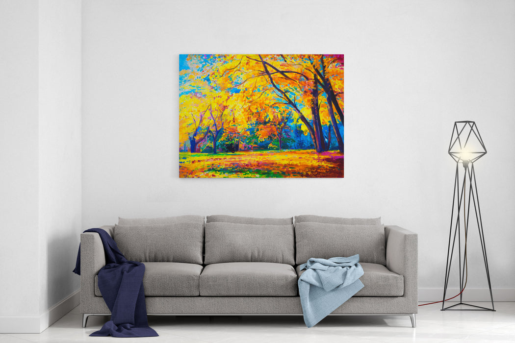 Original Oil Painting On Canvas Yellow Trees  Modern Art Canvas Wall Art Print