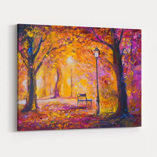 Original Oil Painting On Canvas Night At Park Modern Art Canvas Wall Art Print