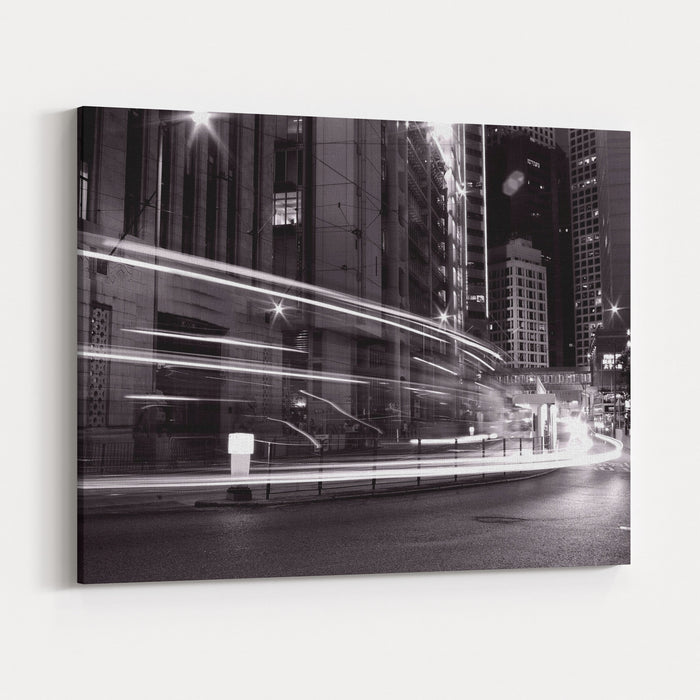 Busy Traffic In Hong Kong At Night In Black And White Canvas Wall Art Print