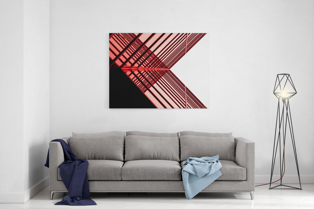 Urban Geometry, Looking Up To Glass Building Modern Architecture Black And White, Glass And Steel X Marks The Spot Abstract Architectural Design Inspirational, Artistic Image Canvas Wall Art Print