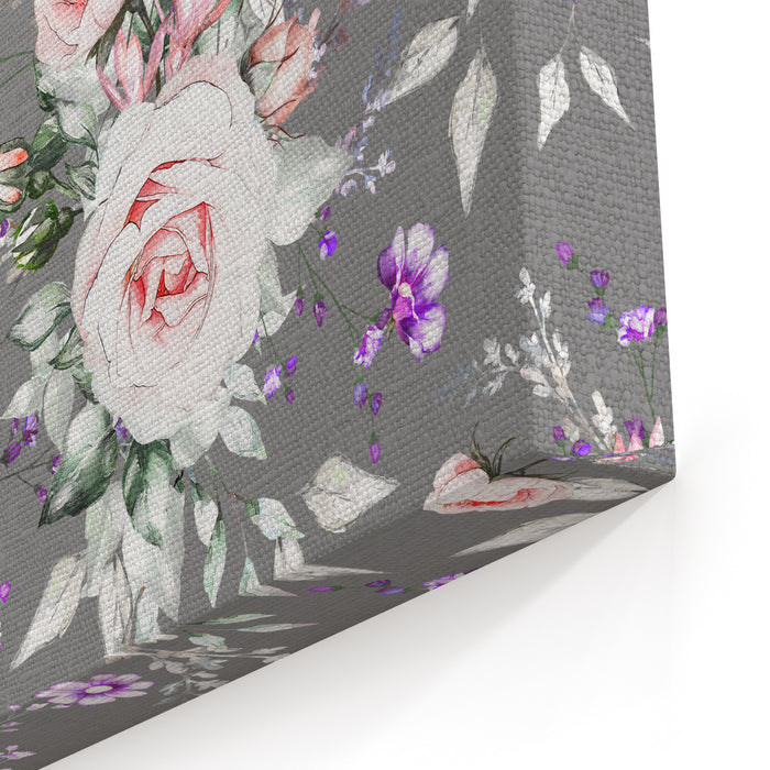 Seamless Pattern With Pink Flowers And Leaves On Gray Background Oilpainting On Canvas Floral Pattern Flower Rose Tile For Wallpaper Or Fabric Canvas