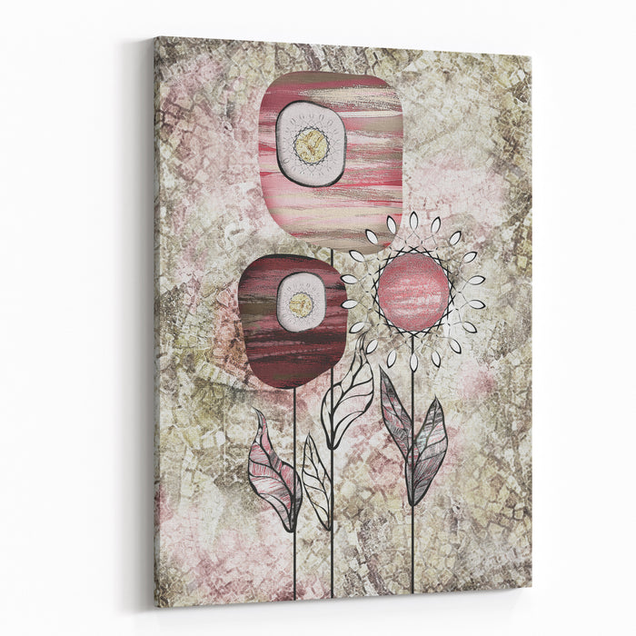 Painting On Canvas, Stylized Flowers Modern  Artwork  Interior Illustration Abstract Background Canvas Wall Art Print