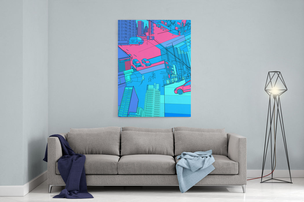 Cityscape Collage Canvas Wall Art Print