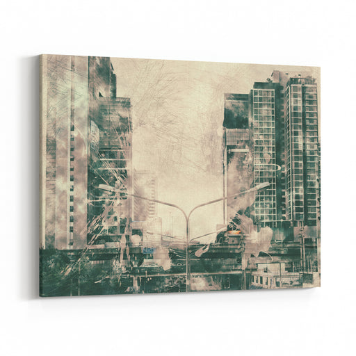 Abstract Building On Watercolor Painting Background City On Digital Illustration Brush To Art Canvas Wall Art Print