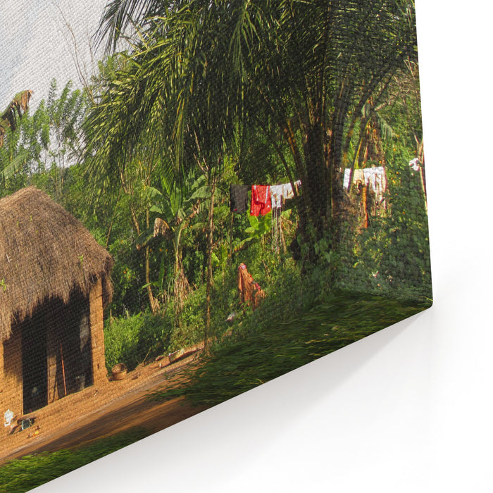 African Village Home Canvas Wall Art Print