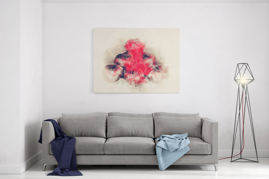 Abstract Red Heart Chocolate On Watercolor Painting Background Canvas Wall Art Print