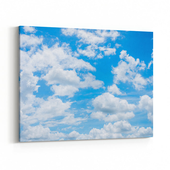 Summer Sky And Beautiful Sun In The Blue Sky With Clouds Canvas Wall Art Print