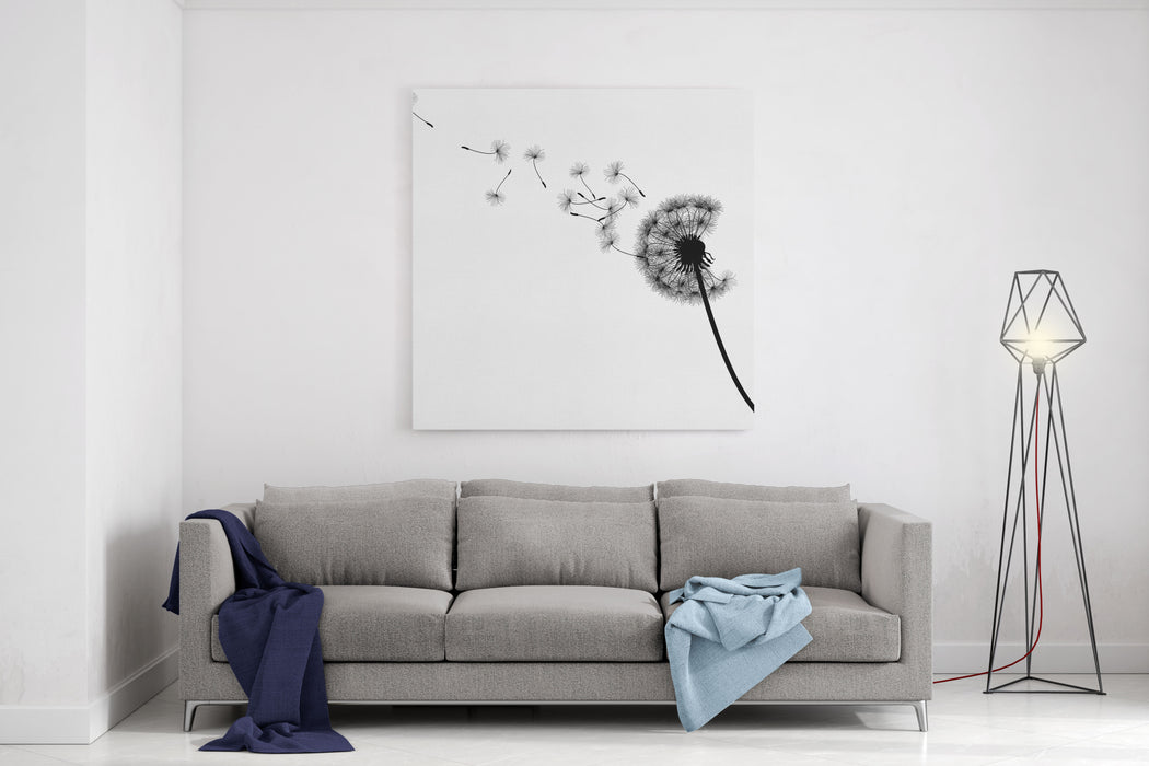 Vector Silhouette Graphic Illustration Depicting Dandelion Seed Dispersal Canvas Wall Art Print