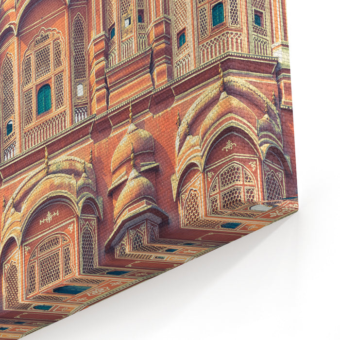 A Detail Of The Facade Of The Pink Palace Of Winds As Seen From The Road In The City Of Jaipur In Eastern Rajasthan, India Canvas Wall Art Print