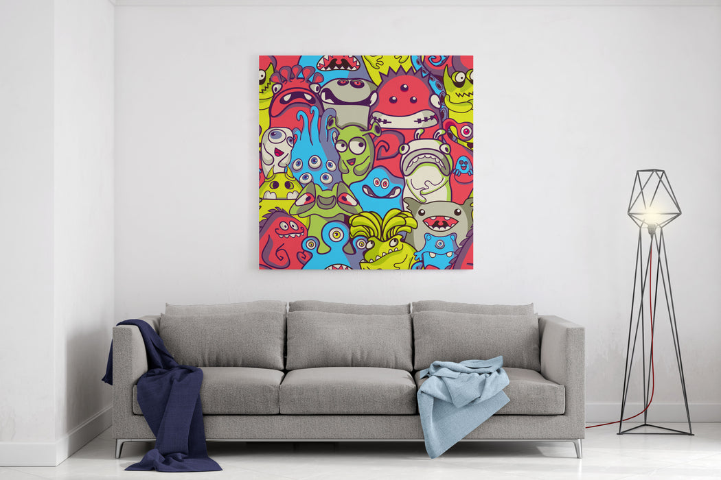 Alien And Monsters  Seamless Pattern Canvas Wall Art Print