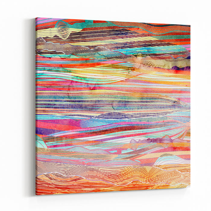 Abstract Multicolored Background With Different Stripes Ornament Canvas Wall Art Print