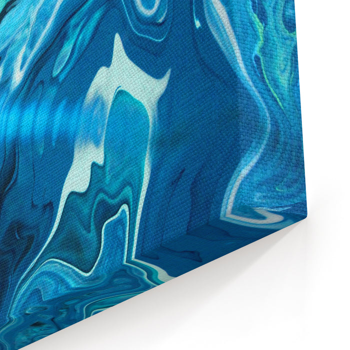Green Blue Marble Texture Design, Fashion Art Painting, Abstract Color Mix Painting Canvas Wall Art Print