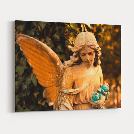 A Fragment Of Ancient Sculpture Angel In A Golden Glow In The Old Cemetery Symbol Of Love, Invisible Forces, Purity, Enlightenment, Ministry Chariot Canvas Wall Art Print