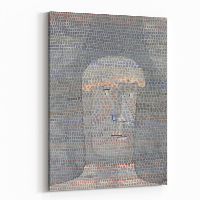 ATHLETES HEAD, By Paul Klee, , Swiss Drawing, Watercolor, Gouache, And Graphite On Paper Abstracted Human Heads With Defined Brow And Thick Neck Painted In Gray Tones On A Darker Ground Is Overpa Canvas Wall Art Print