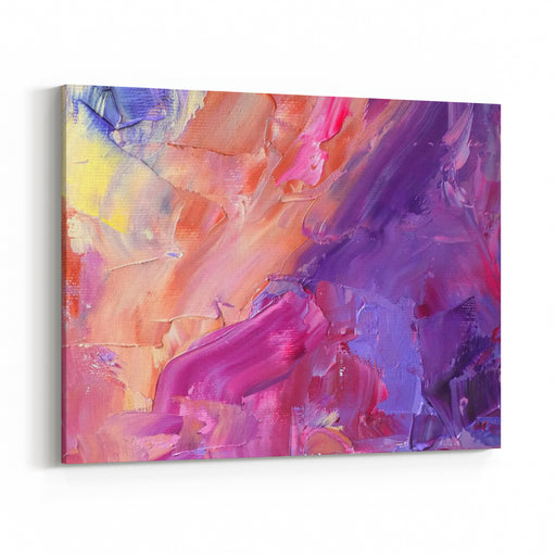 Abstract Acrylic On Canvas Hand Painted Background Colorful Oil Violet, Purple And Yellow Texture With Painting Knife Brush Strokes Modern Art Canvas Wall Art Print