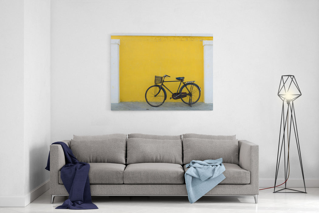 A Forgotten Bicycle In The Beautiful Town Of Pondicherry, India Canvas Wall Art Print