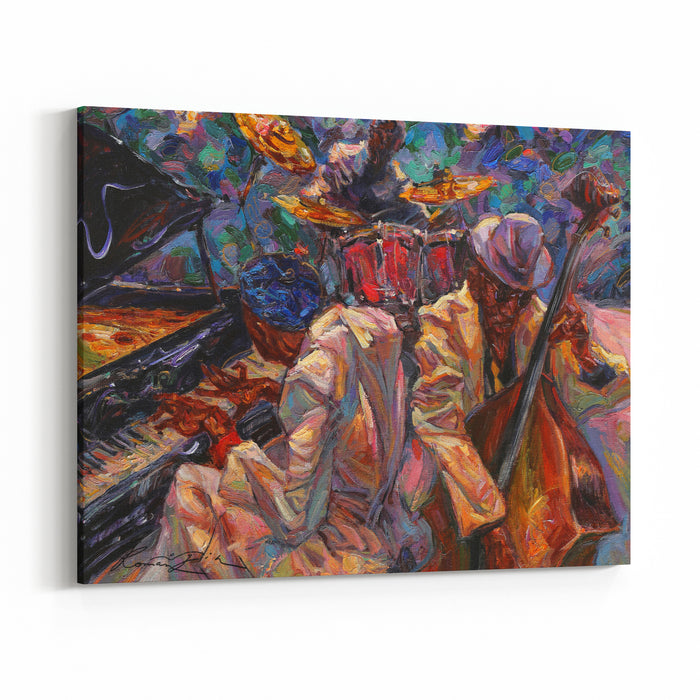 Jazz Singer, Jazz Club, Jazz Band,oil Painting, Artist Roman Nogin, Series Sounds Of Jazz Sale Original  Contact Facebook Canvas Wall Art Print