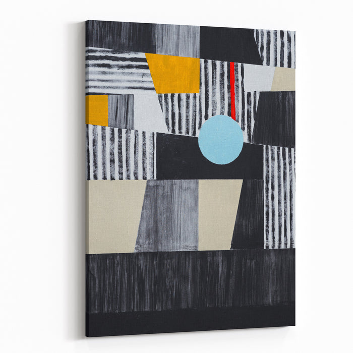 An Abstract Painting Mostly Black, White And Yellow, Roughly Executed Canvas Wall Art Print