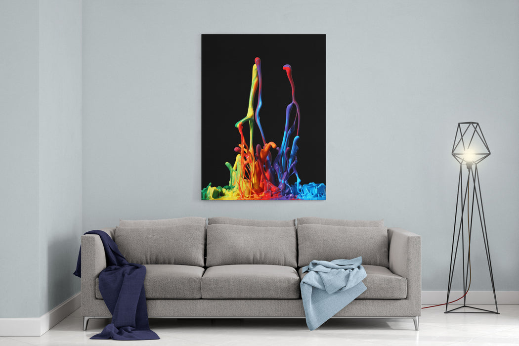 Colorful Paint Splashing Isolated On White Canvas Wall Art Print