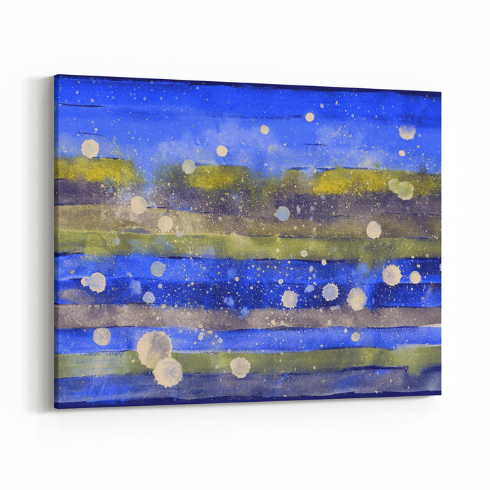 Rectangular Festive Striped Background Abstract Bright Winter Art Painting New Year Hand Drawn Template With Uneven Edges Backdrop Of White Blots And Stripes In Shades Of Blue, Gold And Gray Canvas Wall Art Print