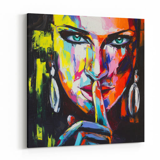 A Colorful Oil Portrait Of A Fictional Character, Made With Palette Knife On Canvas All Resemblence To Real Persons Are Coincidental Canvas Wall Art Print