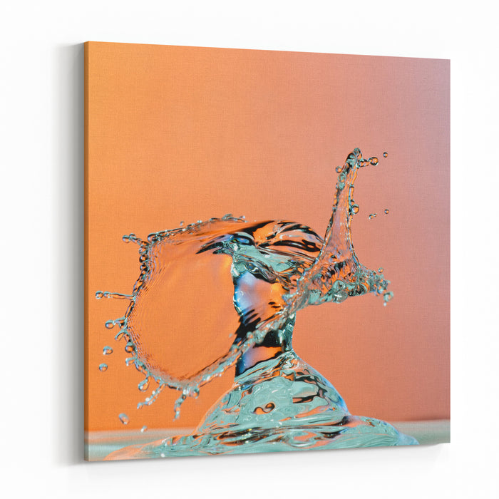 Dancing Water Droplet High Speed Photography On An Orange Background Canvas Wall Art Print