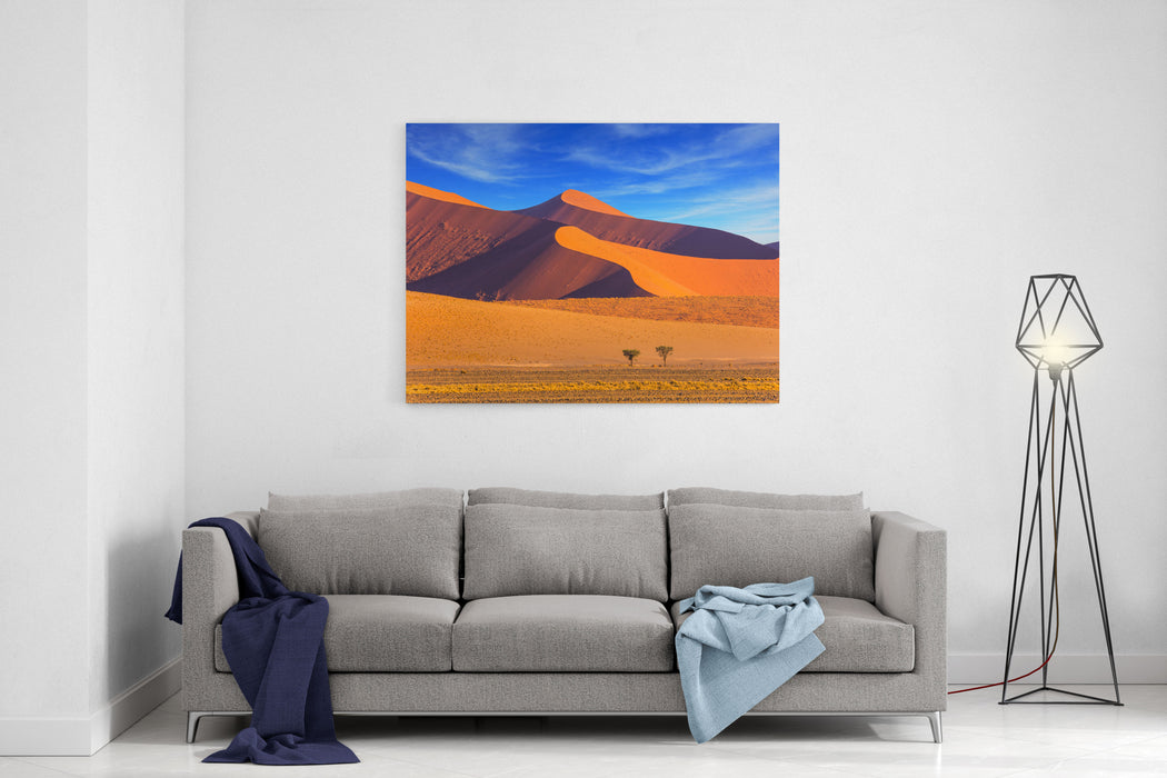 Sharp Border Of Light And Shadow Over The Crest Of The Dune The NamibNaukluft At Sunset Namibia, South Africa The Concept Of Extreme And Exotic Tourism Canvas Wall Art Print