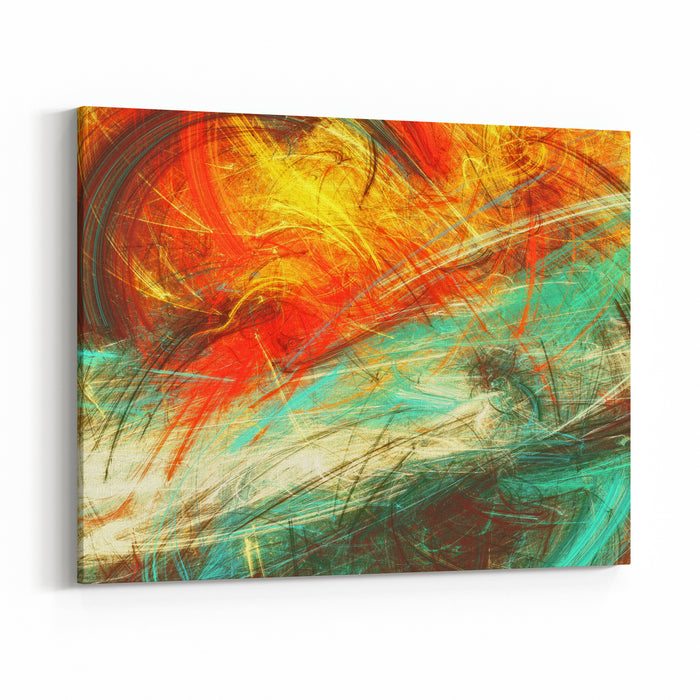 Bright Artistic Splashes On White Abstract Painting Color Texture Modern Futuristic Pattern Multicolor Dynamic Background Fractal Artwork For Creative Graphic Design Canvas Wall Art Print