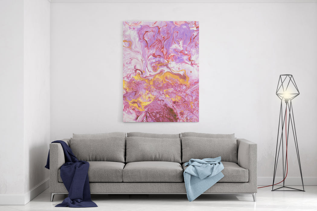 Pink With Gold Marble Abstract Hand Painted Background, Closeup Of Acrylic Painting On Canvas Contemporary Art Canvas Wall Art Print