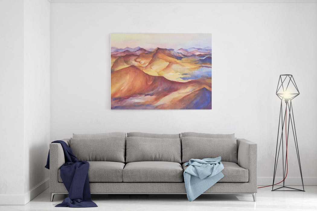 Multicolor Mountain Landscape Peaks On Sunset On Panoramic View Beautiful Rocks And Yellow Sand Desert, Dune Of The Huge Sizes Watercolor Painting Illustration Isolated On White Background Canvas Wall Art Print