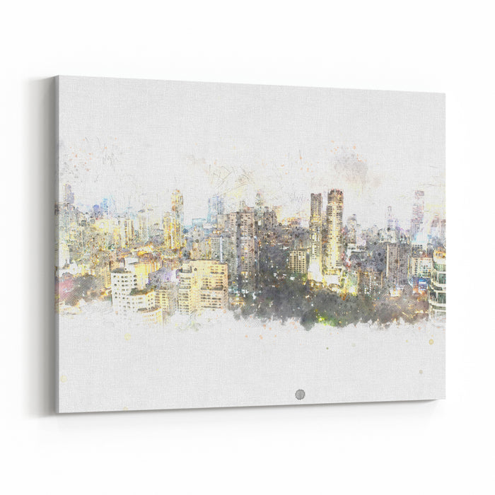 Abstract Beautiful Building In Capital On Watercolor Painting Background Digital Illustration Brush Canvas Wall Art Print